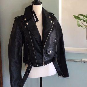 Into Moto Sports Faux Leather Jacket Black Size 3